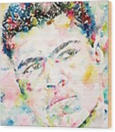 Muhammad Ali - Watercolor Portrait.1 Wood Print