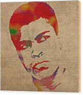 Muhammad Ali Watercolor Portrait On Worn Distressed Canvas Wood Print