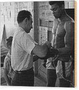 Muhammad Ali With Trainer Wood Print