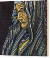 Mujer Mayor En Rebozo Wood Print