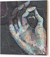 Muladhara - Root 'blue Hand' Chakra Mudra Wood Print