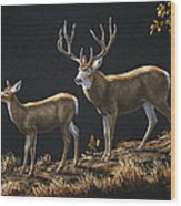 Mule Deer Ridge Wood Print