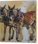 Mules In Full Dress Wood Print