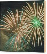 4th Of July Fireworks 2 Wood Print by Howard Tenke
