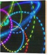 Multi-color Light Orbits Wood Print