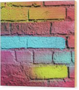Multi-colored Brick Wall Wood Print