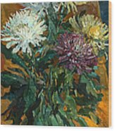 Multi Colored Chrysanthemums Wood Print