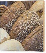 Multi Grain Bagels Closeup Wood Print