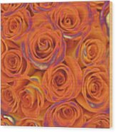 Multi Rose Electric Orange Wood Print