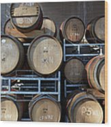 Multible Wooden French Winebarrels On Wood Print