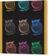 Multicolor Owl Wood Print