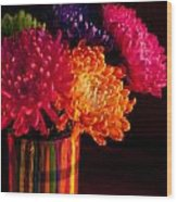 Multicolored Chrysanthemums In Paint Can On Chest Of Drawers Int Wood Print