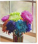 Multicolored Chrysanthemums In Paint Can On Window Sill Wood Print