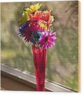 Multicolored Daisies On Window Sill Wood Print