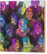 Multicoloured Happy Faces Wood Print by Tim Gainey