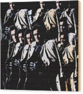 Multiple Johnny Cash In Trench Coat 1 Wood Print