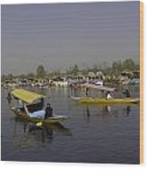 Multiple Number Of Shikaras On The Water Of The Dal Lake In Srinagar Wood Print