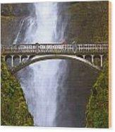 Multnomah Falls Bridge In Oregon Wood Print