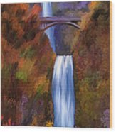 Multnomah Falls In Autumn Wood Print