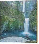 Multnomah Falls In Winter Wood Print
