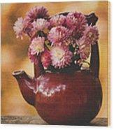 Mums In A Teapot Still Life Wood Print