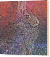 Munching On Clover Wood Print by Sari Sauls