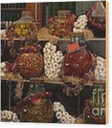 Munich Market With Pickles And Olives Wood Print