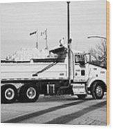 municipal city dump truck taking away snow cleared from parking lots and roads in Saskatoon Saskatch Wood Print