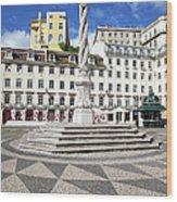 Municipal Square In Lisbon Wood Print
