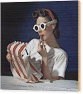 Muriel Maxel Applying Lipstick Wood Print