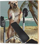 Muscle Boy Boxer Lifting Weights Wood Print