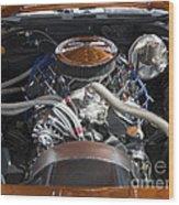 Muscle Car Engine Wood Print