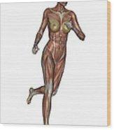 Muscular Woman Running Wood Print