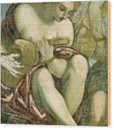 Muse With Lute Wood Print