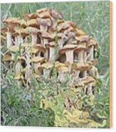 Mushroom Gold Wood Print