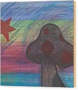 Mushroom And Star Wood Print