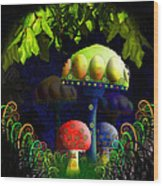 Mushroom Town Wood Print