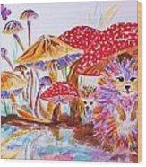 Mushrooms And Hedgehogs Wood Print
