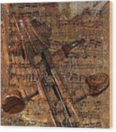 Music Collage Wood Print
