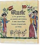 Music Fraktur Wood Print