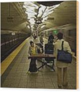 Music In New York Subway Wood Print