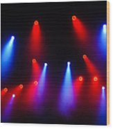 Music In Red And Blue - The Wonderful Sound Of Nightlife Wood Print