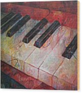Music Is The Key - Painting Of A Keyboard Wood Print