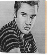 Music Legends Elvis Wood Print by Andrew Read