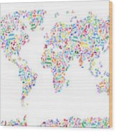 Music Notes Map Of The World Wood Print by Michael Tompsett