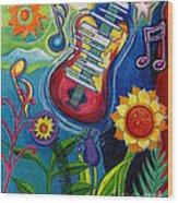 Music On Flowers Wood Print