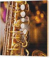 Music - Sax - Sweet Jazz  Wood Print by Mike Savad