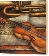 Music - Violin - Played It's Last Song  Wood Print by Mike Savad