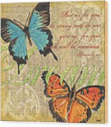 Musical Butterflies 1 Wood Print
