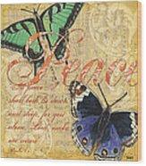 Musical Butterflies 2 Wood Print by Debbie DeWitt